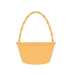 flat cartoon empty straw wicker basket vector image