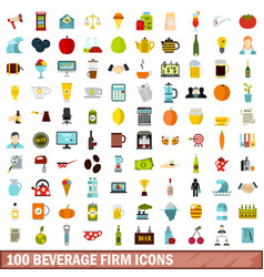 100 beverage firm icons set flat style vector