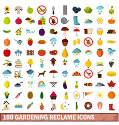 100 gardening reclame icons set flat style vector image