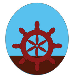 A maroon-colored ships steering wheelhelm or color vector