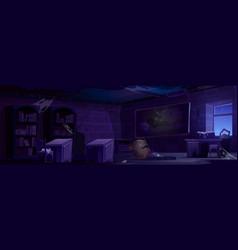 Abandoned magic school night classroom interior vector