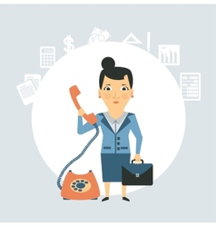 Accountant talking on phone vector