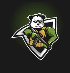 Army panda mascot logo design vector