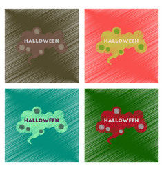 Assembly flat shading style icons halloween sign vector