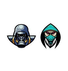 Awesome two man with gas mask logo vector