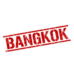 Bangkok red square stamp vector