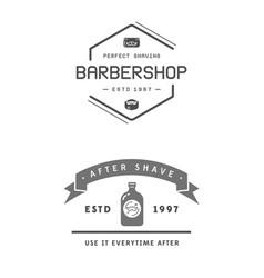 barber shop set two emblems in monochrome vector image