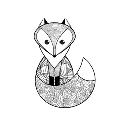 Black and white hand drawn fox vector image
