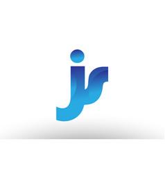 Blue gradient js j s alphabet letter logo vector
