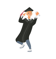 boy guy in graduation cap and gown holding diploma vector image