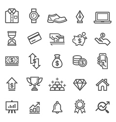 Business element line icons vector