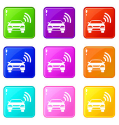 Car with wifi sign icons 9 set vector