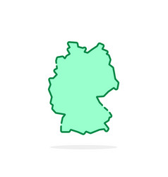cartoon green linear germany map icon vector image