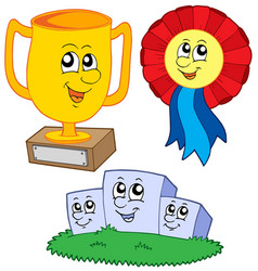 cartoon trophies collection vector image