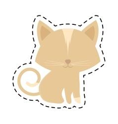 Cat animal domestic furry cut line vector