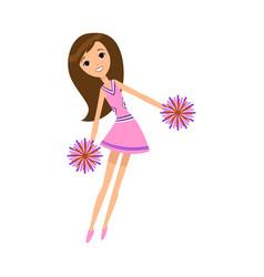Cheerleader in pink dress dancing with pompons vector