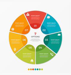 Circle chart infographic template with 7 options vector