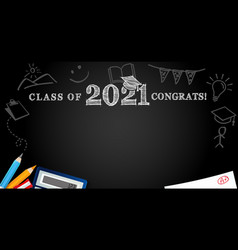 Class 2021 congrats school colored pencils vector