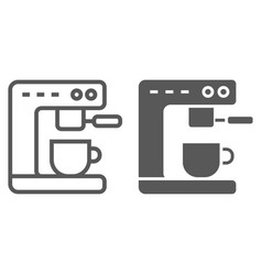 Coffee machine line and glyph icon kitchen vector