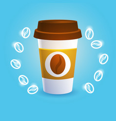 Coffee take away cup break breakfast drink vector