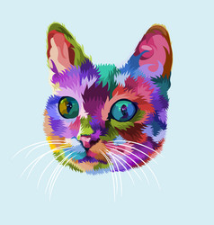colorful cat head on pop art style vector image