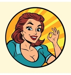 Comic young beautiful woman OK gesture vector image