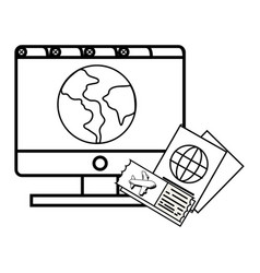 Computer and globe vector