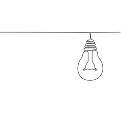 continuous one line drawing hanging light bulb vector image