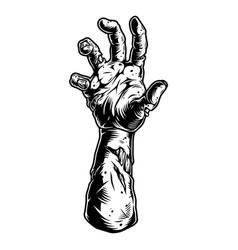 Creepy zombie hand vintage concept vector