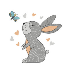 cute little hair with hearts and a butterfly vector image