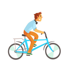 Cyclist male in casual clothes riding a bike vector