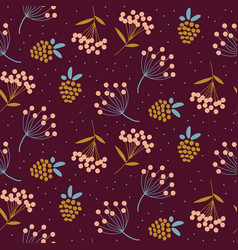 dandelions and strawberry purple colors seamless vector image