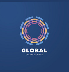 digital global communication logo template vector image