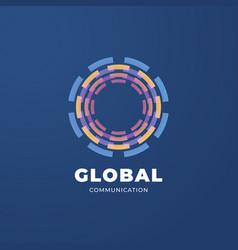 digital global communication logo template vector image