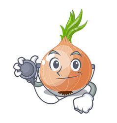 Doctor raw onions in a cartoon box vector