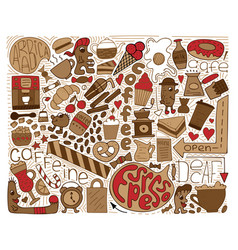 doodle brown modern art for coffee vector image