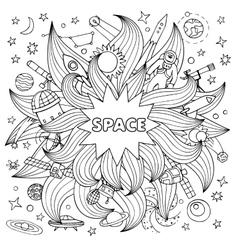 Doodle space elements vector