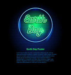 Earth day neon sign vector