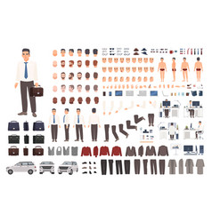 Elegant office worker or clerk creation set or diy vector