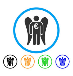 Euro angel investor rounded icon vector