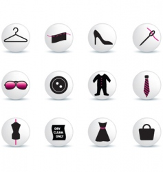 Fashion icons white buttons vector