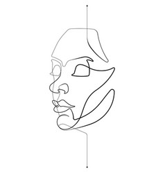 female face single continuous line vector image