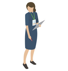 Female in blue midi dress holds tablet and pen vector