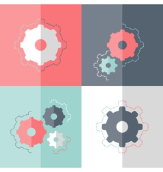 Flat gear wheel icon set vector