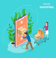 Flat isometric concept of mobile shopping vector