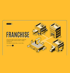 Franchise business start isometric website vector