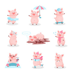 funny pigs activity set cute piglets cartoon vector image
