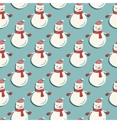 Funny Snowmen Seamless pattern vector image