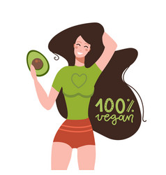 funny woman with avocado fruit with lettering vector image