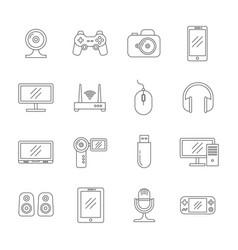Gadgets and computer technology thin line vector